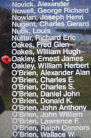 Memorial– Sergeant Ernest James Oakley is also commemorated on the Bomber Command Memorial Wall in Nanton, AB … photo courtesy of Marg Liessens