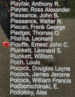 Memorial– Flight Sergeant Ernest John Cecil Plouffe is also commemorated on the Bomber Command Memorial Wall in Nanton, AB … photo courtesy of Marg Liessens