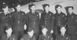 """Group Photo– This is my father's flight crew Taken Dec. 8th, 1942 (location unknown) Names on the back are BAck Row left to right, GK Thompson, Langley B.C. J.M. Willis, Van. B.C. W.B. Hess? Van. B.C. A.C. Hodges Van. R Masters, Van. A.A. Hadislean, Salmo B.C. Front Row kneeling"""" L to R - C.O. Whinton, Peachland, B.C., D.A. Powley (my father) Van. B.C. R.W.C. Tate Victoria, B.C. A.C. Fussell, New West. B.C."""