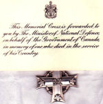 """Memorial Card– David Powley's medals Memorial Cross Dediction card reads """"This Memorial Cross is forwarded by the Minister of National Defence on behalf of the Government of Canada, in memory of one who died in the service of his Country"""