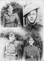 Photo– The composite picture taken and created by the 5th Powley brother, Jack (Jay) Samuel Powley (38) not yet in the service but was waiting for enlistment at the time. Jay was working for the Vancouver Province News Paper at the time and got this picture and the accompanying article published Oct. 19th , 1940. (Tricky photography for the times.)    The 4 Powley brothers 'at war' as pictured here were clock wise from upper left corner, Fusilier, David (Teddy) Alexander Powley (30) (not in the RCAF yet) then upper right Sergt. William (Bill) Powley (25), then lower right corner Sergt. Richard Samuel Powley Jr.(28) and in the lower left corner Raymond Alexander Powley (37)