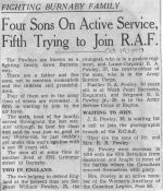 Newspaper clipping– This is likely the article Published Oct. 19th, 1940 in the Vancouver Province that accompanied the 4 Powley Brothers photo montage as seen earlier. So neat to know that their father Richard Samuel Powley was a vet from the 1st WW and that his enlistment papers are now posted to the Veterans Affairs Canada site as well  he was overseas in 1916 with the 65th Battalion from Saskatoon. To fill out the 'Fighting Burnaby Family' 'Mrs. (Ellen) Powley, the lads mom was an active member of the Women's Auxiliary of the Canadian Legion,. Post 83 at the time.