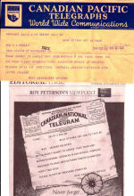 Telegram– That was then this is now 'Nov. 11th 2008 tribute to the Vets 'how art inmates life 'David Alexander actual first CPR Telegraph from the Ottawa dated Jan. 16th @ 6:27PM, 1944 is reported as  'Missing'.