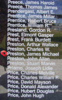 Memorial– Sergeant James Michael Preston is also commemorated on the Bomber Command Memorial Wall in Nanton, AB … photo courtesy of Marg Liessens