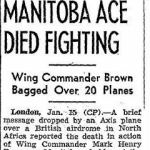 Newspaper Clipping– Source:  Globe and Mail, January 16, 1942