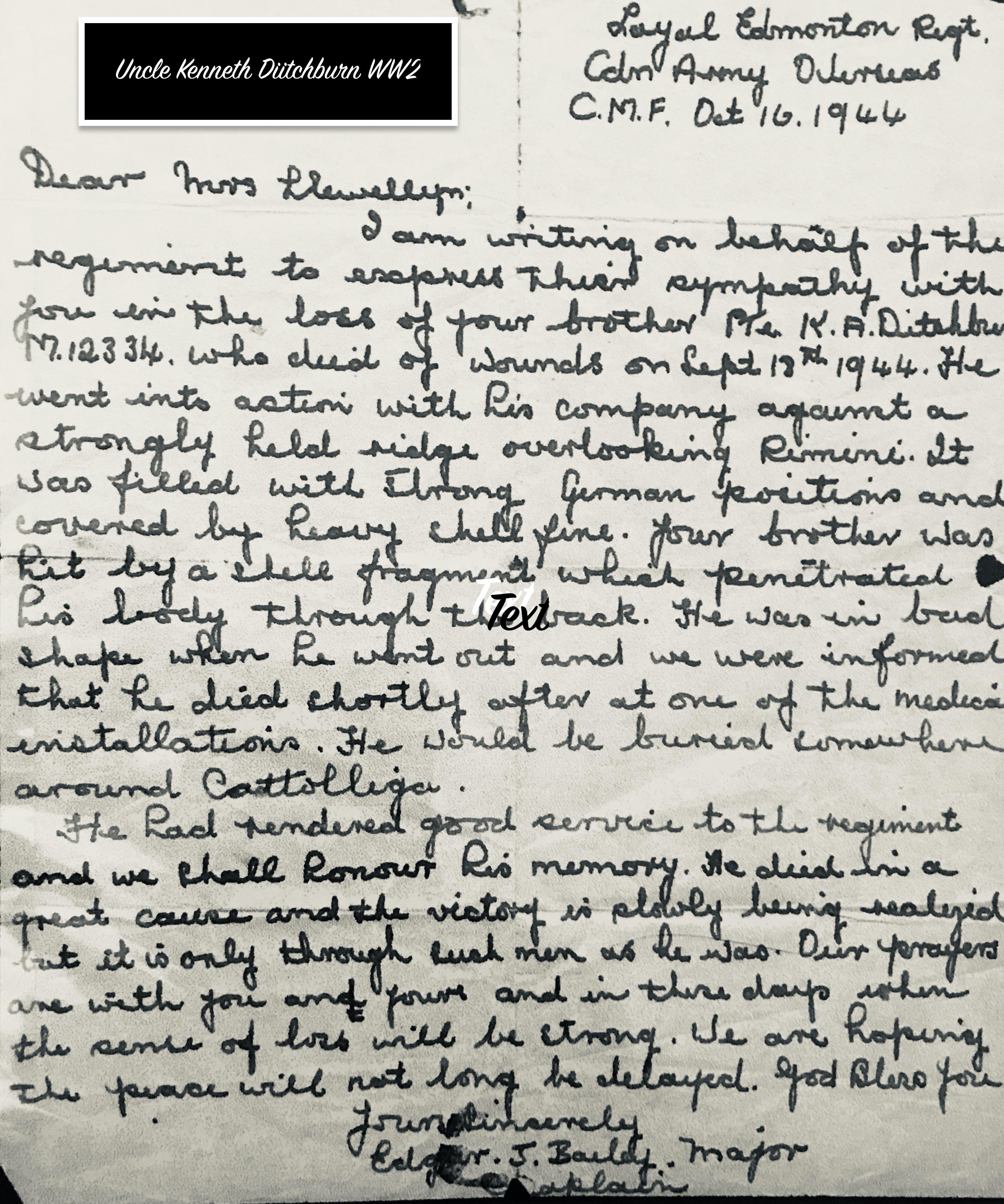Letter– Kenneth Aymer Ditchburn