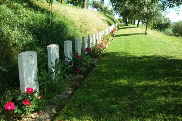 Grave Markers– Row of markers in the tiered Gradara War Cemetery - May 2013 … Photo courtesy of Marg Liessens