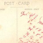Postcard– Inscription on reverse of photo postcard taken in England.