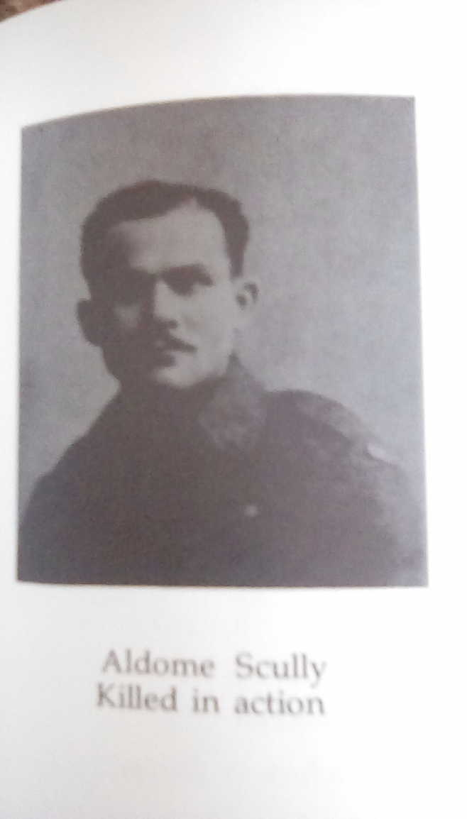 """Photo of ALLAN SCULLY– Photo courtesy of """"The Black Donald Book"""" by Rita Quilty. The page pays tribute to the men of Black Donald Akr Mines in Ontario who went off and lost their lives at war. """"Aldome Scully killed in action""""."""
