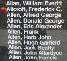 Memorial– Flying Officer Frederick Charles Allcroft is also commemorated on the Bomber Command Memorial Wall in Nanton, AB … photo courtesy of Marg Liessens