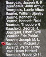 Memorial– Flight Sergeant Michael Joseph Bovaconti is also commemorated on the Bomber Command Memorial Wall in Nanton, AB … photo courtesy of Marg Liessens