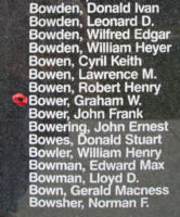 Memorial– Warrant Officer Class I Graham Westwood Bower is also commemorated on the Bomber Command Memorial Wall in Nanton, AB … photo courtesy of Marg Liessens