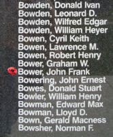 Memorial– Flying Officer John Frank Bower is also commemorated on the Bomber Command Memorial Wall in Nanton, AB … photo courtesy of Marg Liessens