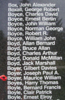 Memorial– Pilot Officer Maurice William Boyer is also commemorated on the Bomber Command Memorial Wall in Nanton, AB … photo courtesy of Marg Liessens
