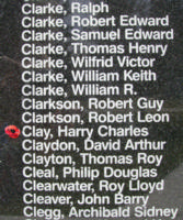 Memorial– Pilot Officer Harry Charles Clay is also commemorated on the Bomber Command Memorial Wall in Nanton, AB … photo courtesy of Marg Liessens