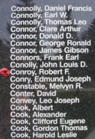 Memorial– Flying Officer Robert Fitzgerald Conroy is also commemorated on the Bomber Command Memorial Wall in Nanton, AB … photo courtesy of Marg Liessens
