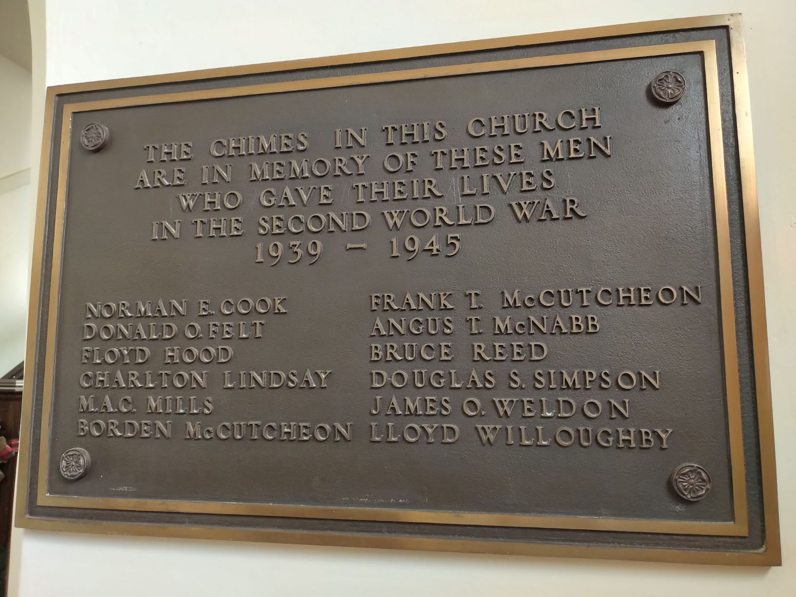 Memorial– This plaque as well as new chimes were installed, following World War II, in Collier Street United Church, Barrie, Ontario, to commemorate members of the congregation who had died in the war, including  Pilot Officer Norman E. Cook.