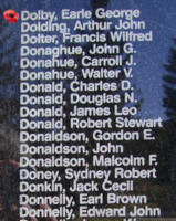 Memorial– Pilot Officer Earle George Dolby is also commemorated on the Bomber Command Memorial Wall in Nanton, AB … photo courtesy of Marg Liessens