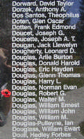 Memorial– Warrant Officer Class I Robert Gordon Douglas is also commemorated on the Bomber Command Memorial Wall in Nanton, AB … photo courtesy of Marg Liessens