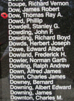 Memorial– Squadron Leader Thomas Ray Asquith Dow is also commemorated on the Bomber Command Memorial Wall in Nanton, AB … photo courtesy of Marg Liessens