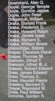 Memorial– Flying Officer Thomas Maynard Draper is also commemorated on the Bomber Command Memorial Wall in Nanton, AB … photo courtesy of Marg Liessens