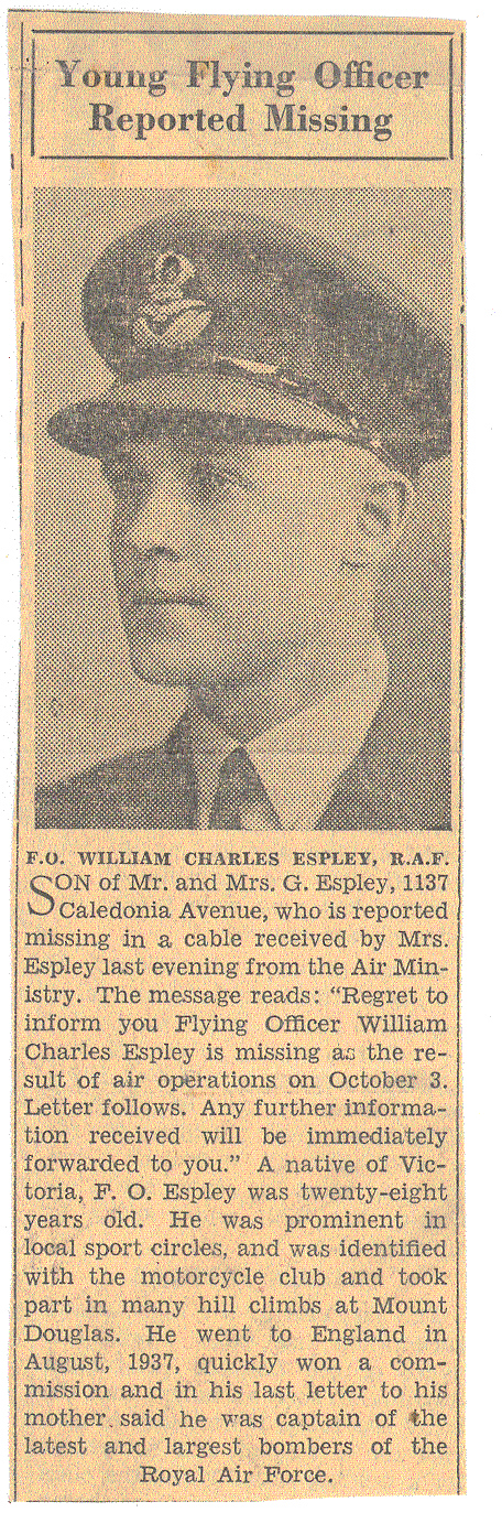 Newspaper Clipping– Newspaper clipping supplied to me by my Aunt in 2006.  It is from a Victoria newspaper in 1940.