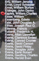Memorial– Flying Officer William Charles Espley is also commemorated on the Bomber Command Memorial Wall in Nanton, AB … photo courtesy of Marg Liessens