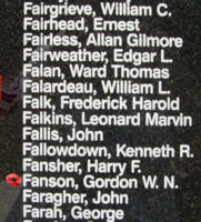 Memorial– Flight Lieutenant Gordon William Neil Fanson is also commemorated on the Bomber Command Memorial Wall in Nanton, AB … photo courtesy of Marg Liessens