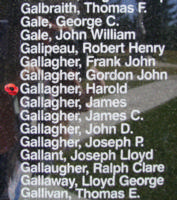 Memorial– Flight Sergeant Harold Gallagher is also commemorated on the Bomber Command Memorial Wall in Nanton, AB … photo courtesy of Marg Liessens