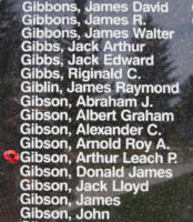Memorial– Flight Sergeant Arthur Leach Patterson Gibson is also commemorated on the Bomber Command Memorial Wall in Nanton, AB … photo courtesy of Marg Liessens