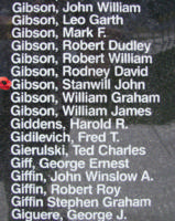 Memorial– Flying Officer Stanwill John Gibson is also commemorated on the Bomber Command Memorial Wall in Nanton, AB … photo courtesy of Marg Liessens