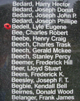 Memorial– Flight Sergeant Lyle Eugene Bedell is also commemorated on the Bomber Command Memorial Wall in Nanton, AB … photo courtesy of Marg Liessens