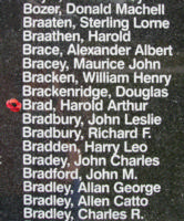 Memorial– Pilot Officer Harold Arthur Brad is also commemorated on the Bomber Command Memorial Wall in Nanton, AB … photo courtesy of Marg Liessens