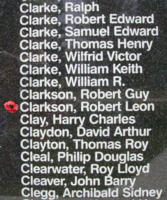 Memorial– Pilot Officer Robert Leon Clarkson is also commemorated on the Bomber Command Memorial Wall in Nanton, AB … photo courtesy of Marg Liessens