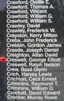 Memorial– Flying Officer George Elliott Creswell is also commemorated on the Bomber Command Memorial Wall in Nanton, AB … photo courtesy of Marg Liessens