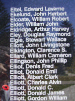 Memorial– Sergeant Donald Christopher Elliott is also commemorated on the Bomber Command Memorial Wall in Nanton, AB … photo courtesy of Marg Liessens