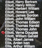 Memorial– Flight Sergeant Verne Douglas Elliott is also commemorated on the Bomber Command Memorial Wall in Nanton, AB … photo courtesy of Marg Liessens