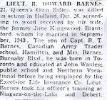 News Clip– Copy of Lieutenant Barnes' obituary notice in a Toronto newspaper.
