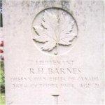Grave marker– This photo of Lieut Barnes' gravemarker at Adegem Cemetery was taken in June 2003.
