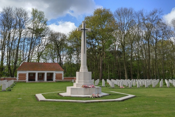 Cemetery– Cross of Sacrifice - Adegem Canadian War Cemetery - April 2017 … photo courtesy of Marg Liessens