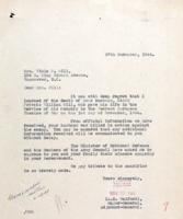 Letter– Letter to Mrs. Gill.  LAC, Ottawa