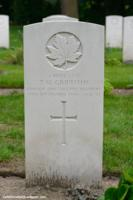 Grave Marker– Tudor was killed in action on September 9th, 1944 while he and his regiment had to cross a canal near Moerbrugge (Belgium) during the night in order to make contact with the Argyll and Sutherland Highlanders of Canada regiment. (Both infantry regiments of the 10 Infantry Division, supporting the 4th Armoured Division.) Tudor was temporary buried at Moerbrugge cemetery, among other members of the Lincoln and Welland Regiment and ASHofC and is now buried at Adegem Canadian War Cemetery.