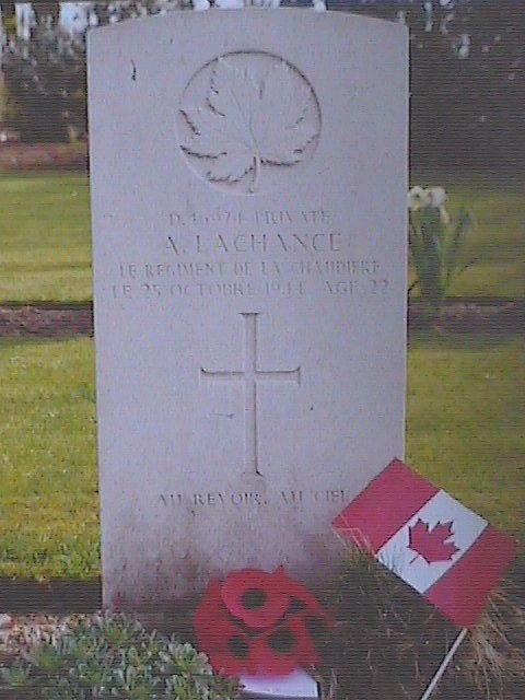 Headstone of Armand Lachance