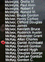 Memorial– Flight Sergeant Daniel Archibald McKay is also commemorated on the Bomber Command Memorial Wall in Nanton, AB … photo courtesy of Marg Liessens