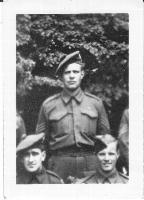 """Photo of JAMES ESTON MACKENZIE– Found amongst the photos of Mathilde Myra LaBarre.  Married surname Gibson.  On the back of the photo is written:  """"Jim Mackenzie...Killed in action...Cameron Highlanders of Ottawa...buried next to Denny LaBarre.""""  Denny LaBarre was Mathilde Myra LaBarre's brother and is buried at Adagem."""