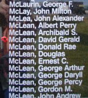 Memorial– Pilot Officer David Gerald McLean is also commemorated on the Bomber Command Memorial Wall in Nanton, AB … photo courtesy of Marg Liessens