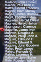 Memorial– Sergeant James Ivan Magoffin is also commemorated on the Bomber Command Memorial Wall in Nanton, AB … photo courtesy of Marg Liessens
