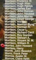 Memorial– Pilot Officer John Howard Morriss is also commemorated on the Bomber Command Memorial Wall in Nanton, AB … photo courtesy of Marg Liessens