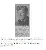 Biography– In 2011, the grade 11 Modern History students at Belleisle Regional High School continued to write biographies for soldiers from the local area who died during the First and Second World Wars.