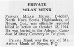 Obituary– Milan Monk is honoured on page 51 of the memorial book,